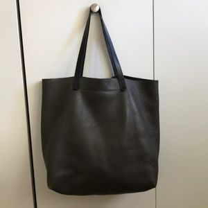 Madewell textured transport tote dark grey leather